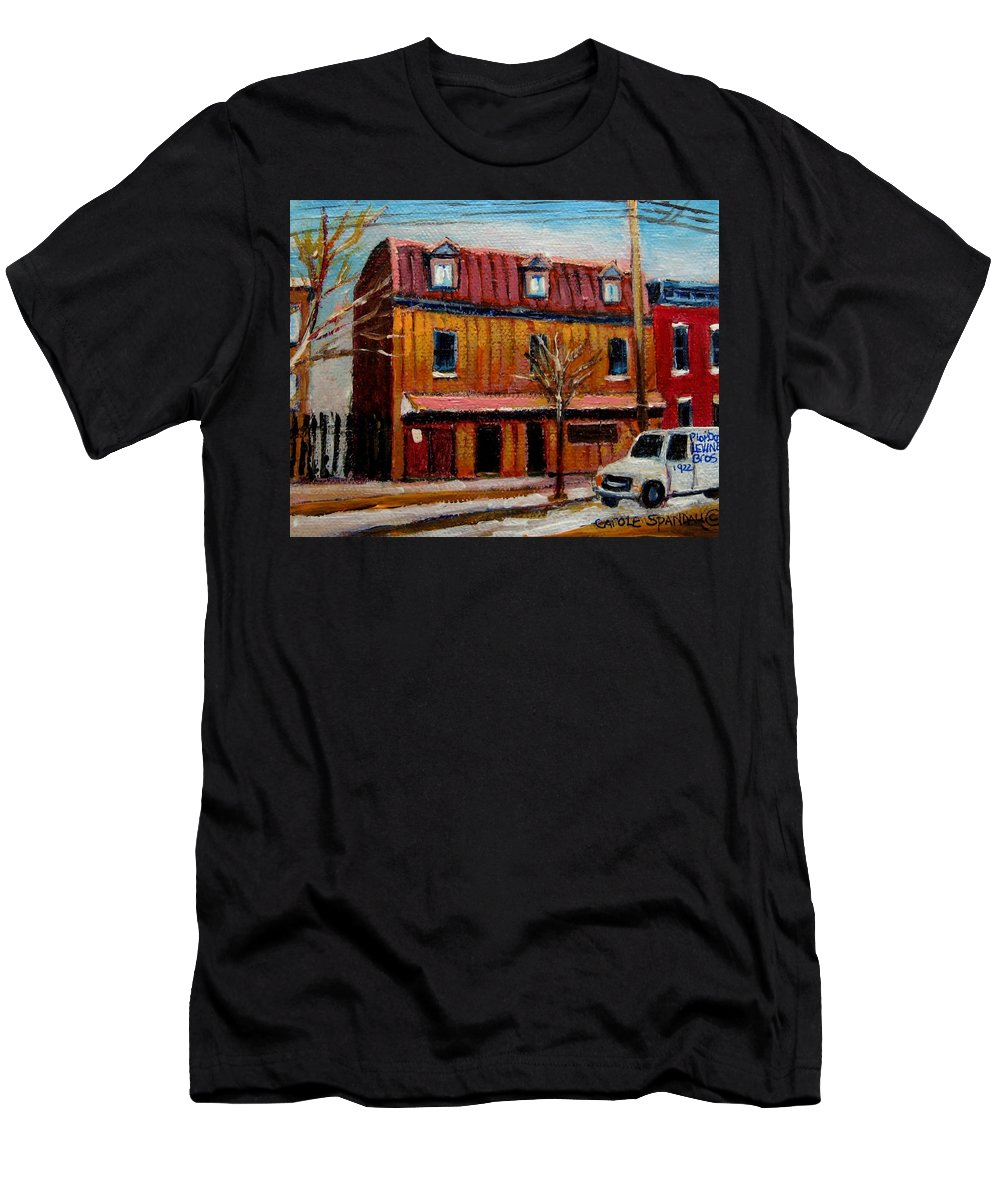 Levine Brothers Plumbers Men's T-Shirt (Athletic Fit) featuring the painting Levine Brothers Plumbers Montreal by Carole Spandau