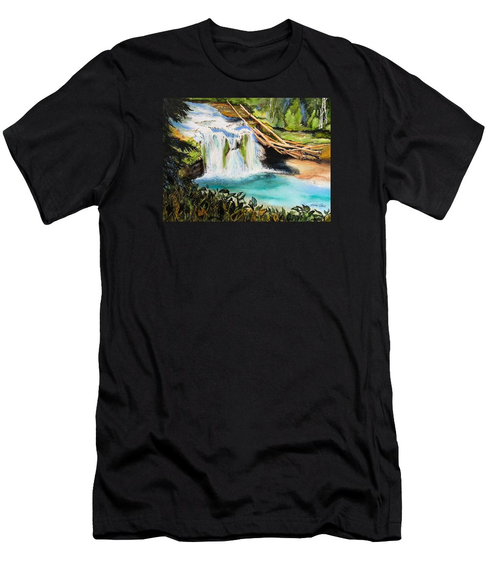 Water Men's T-Shirt (Athletic Fit) featuring the painting Lewis River Falls by Karen Stark