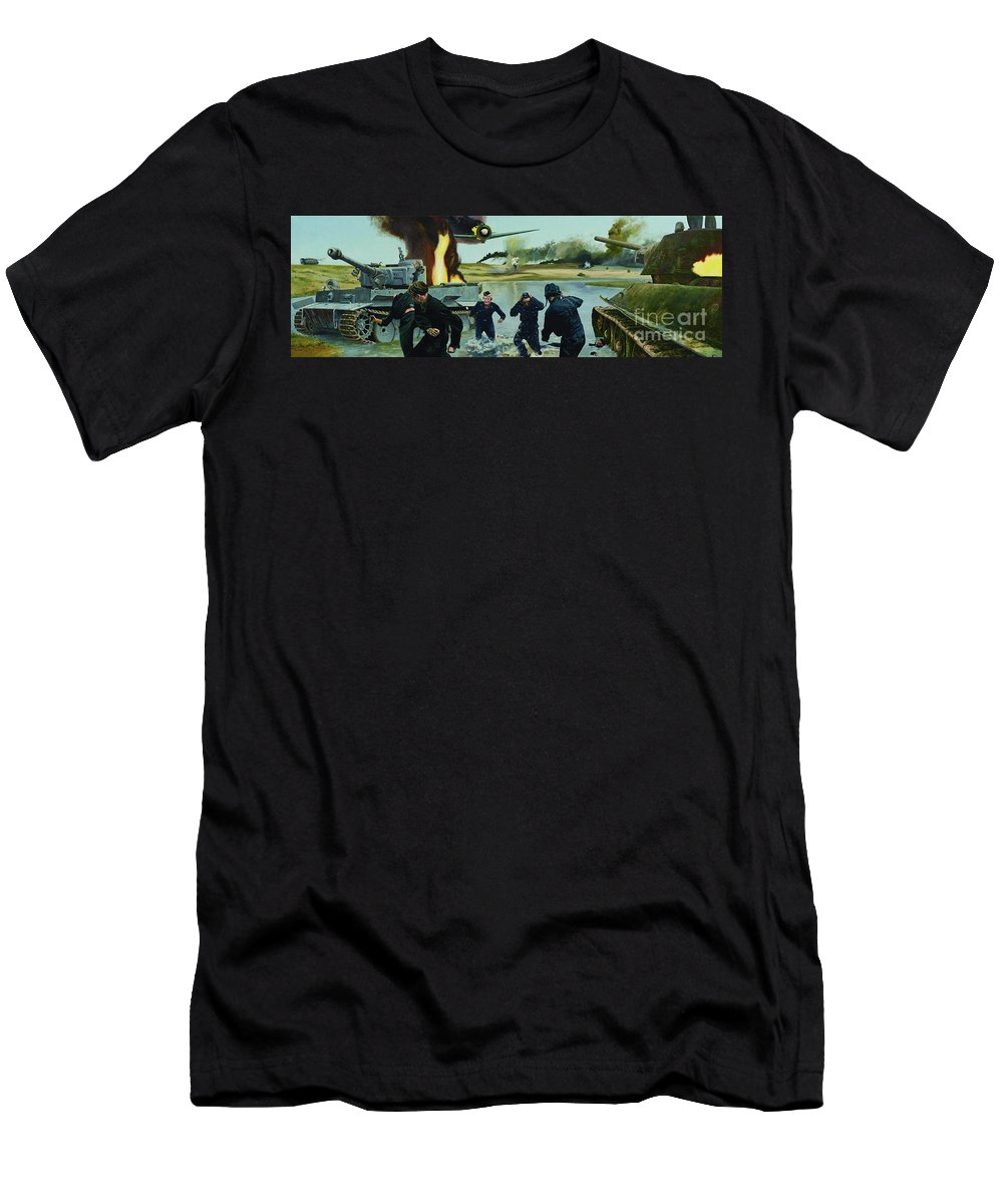 Soldiers Men's T-Shirt (Athletic Fit) featuring the painting Liberation by Oleg Konin