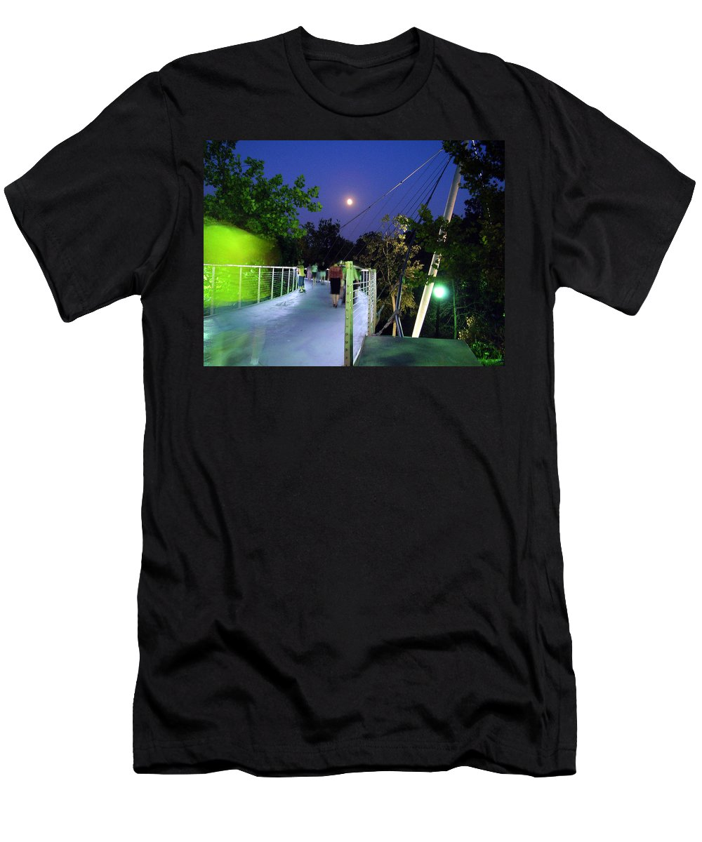 Liberty Bridge Men's T-Shirt (Athletic Fit) featuring the photograph Liberty Bridge At Night Greenville South Carolina by Flavia Westerwelle