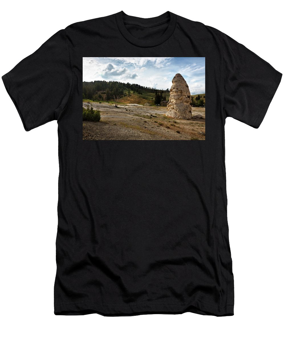 Yellowstone Men's T-Shirt (Athletic Fit) featuring the photograph Liberty Cap - Yellowstone by Belinda Greb