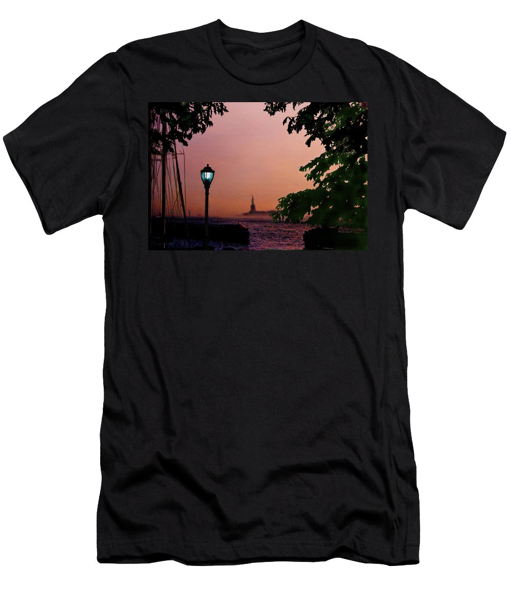 Seascape Men's T-Shirt (Athletic Fit) featuring the digital art Liberty Fading Seascape by Steve Karol
