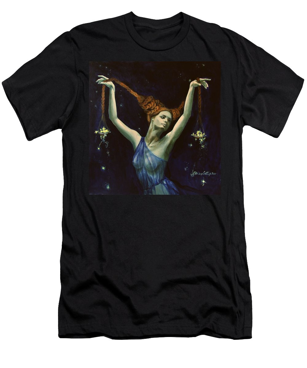 Art Men's T-Shirt (Athletic Fit) featuring the painting Libra From Zodiac Series by Dorina Costras