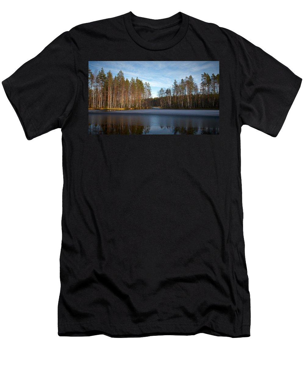 Lehtokukka Men's T-Shirt (Athletic Fit) featuring the photograph Liesilampi 6 by Jouko Lehto