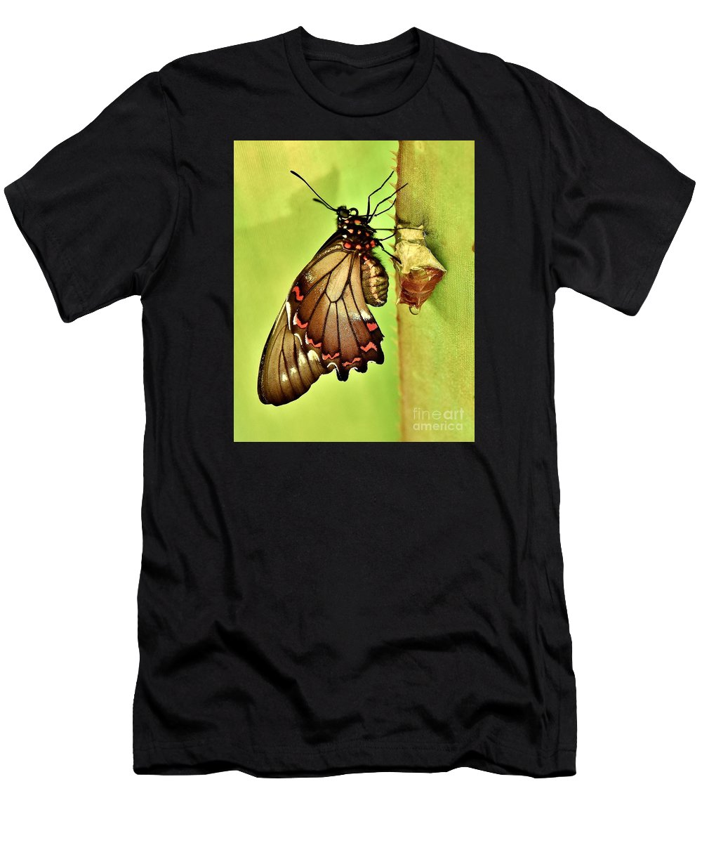 Butterfly Men's T-Shirt (Athletic Fit) featuring the photograph Life Erupts by Lisa Renee Ludlum