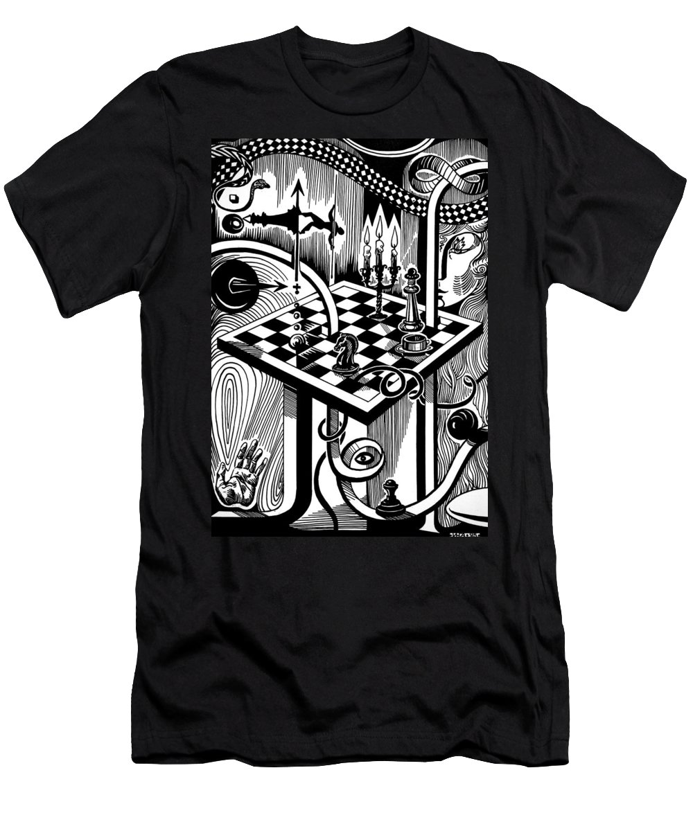 Inga Vereshchagina Men's T-Shirt (Athletic Fit) featuring the drawing Life Game by Inga Vereshchagina
