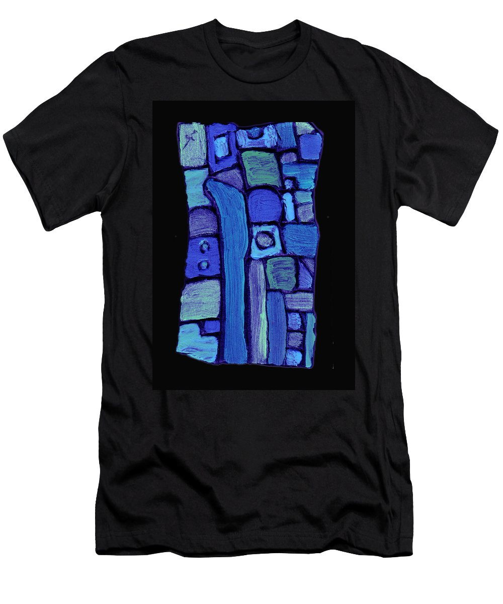 Abstract Men's T-Shirt (Athletic Fit) featuring the painting Life In The Pond by Wayne Potrafka