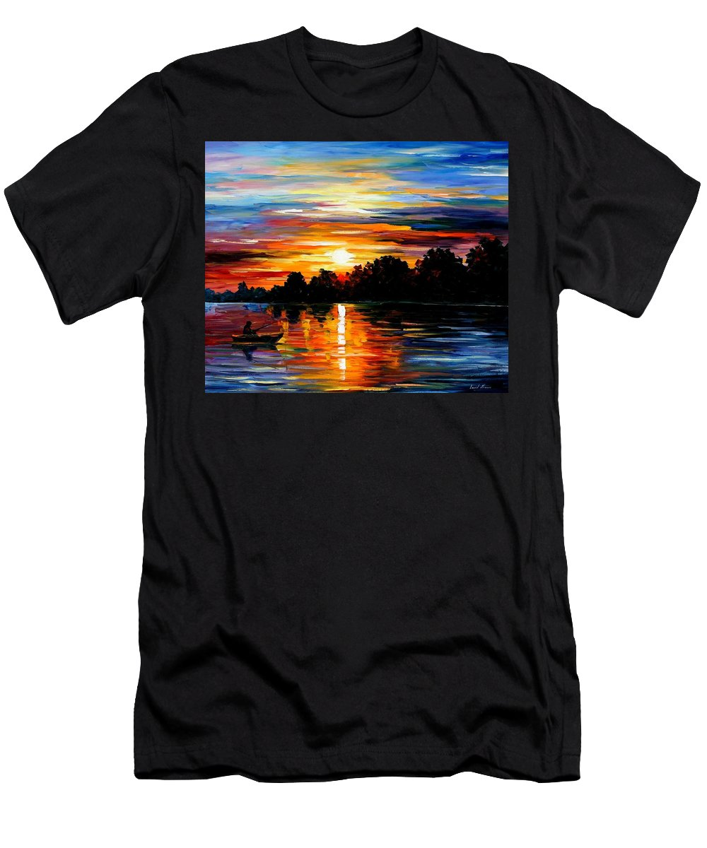 Afremov Men's T-Shirt (Athletic Fit) featuring the painting Life Memories by Leonid Afremov