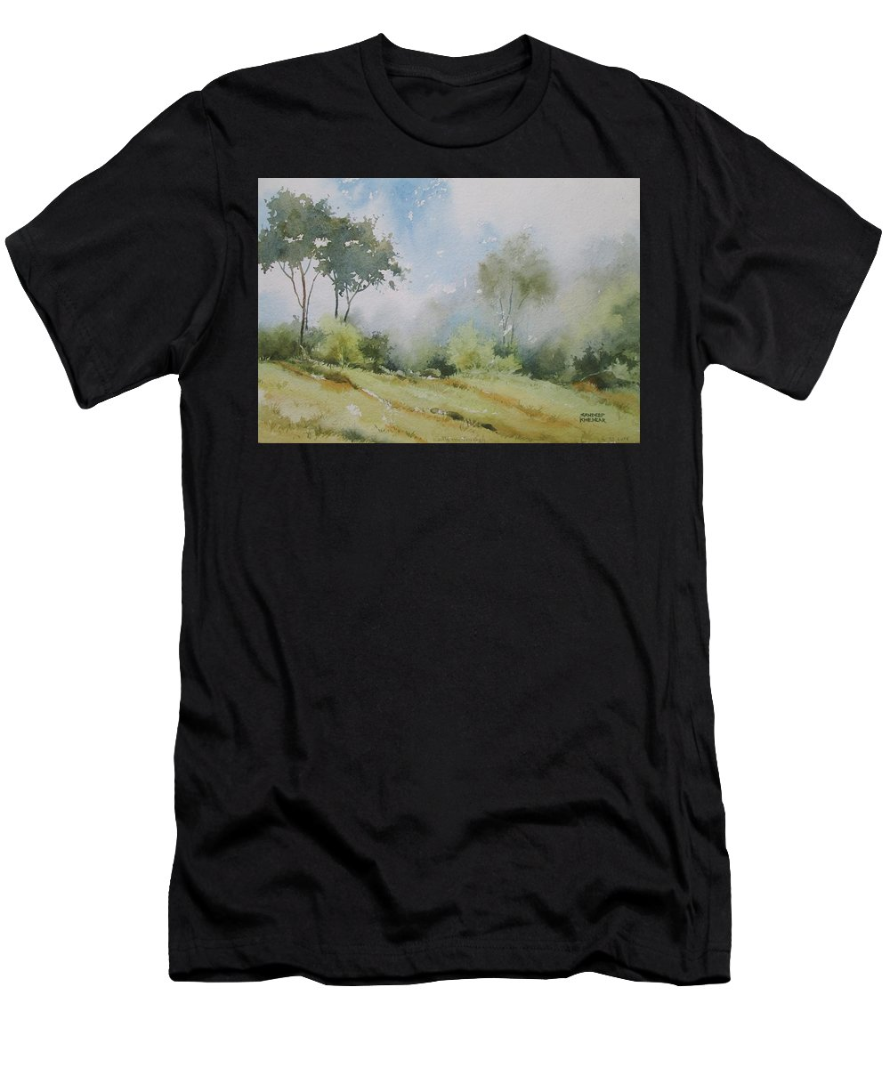 Landscapes Men's T-Shirt (Athletic Fit) featuring the painting Life On The Edge by Sandeep Khedkar