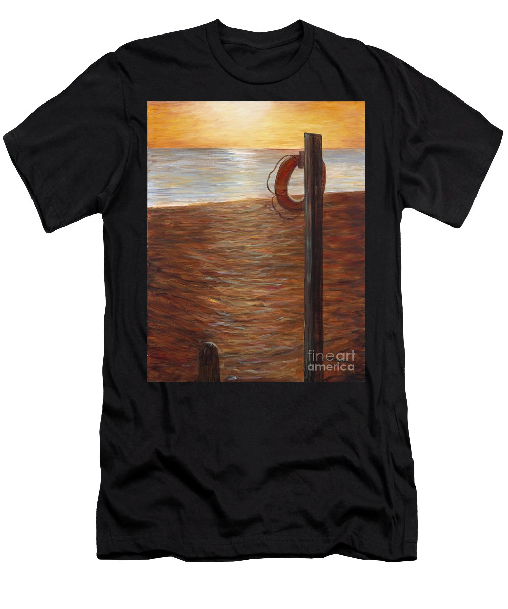 Life Ring T-Shirt featuring the painting Life Ring at Sunset by Nadine Rippelmeyer