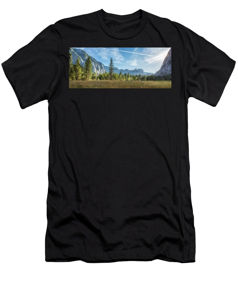 Cook's Meadow Men's T-Shirt (Athletic Fit) featuring the photograph Light Across The Valley by Belinda Greb