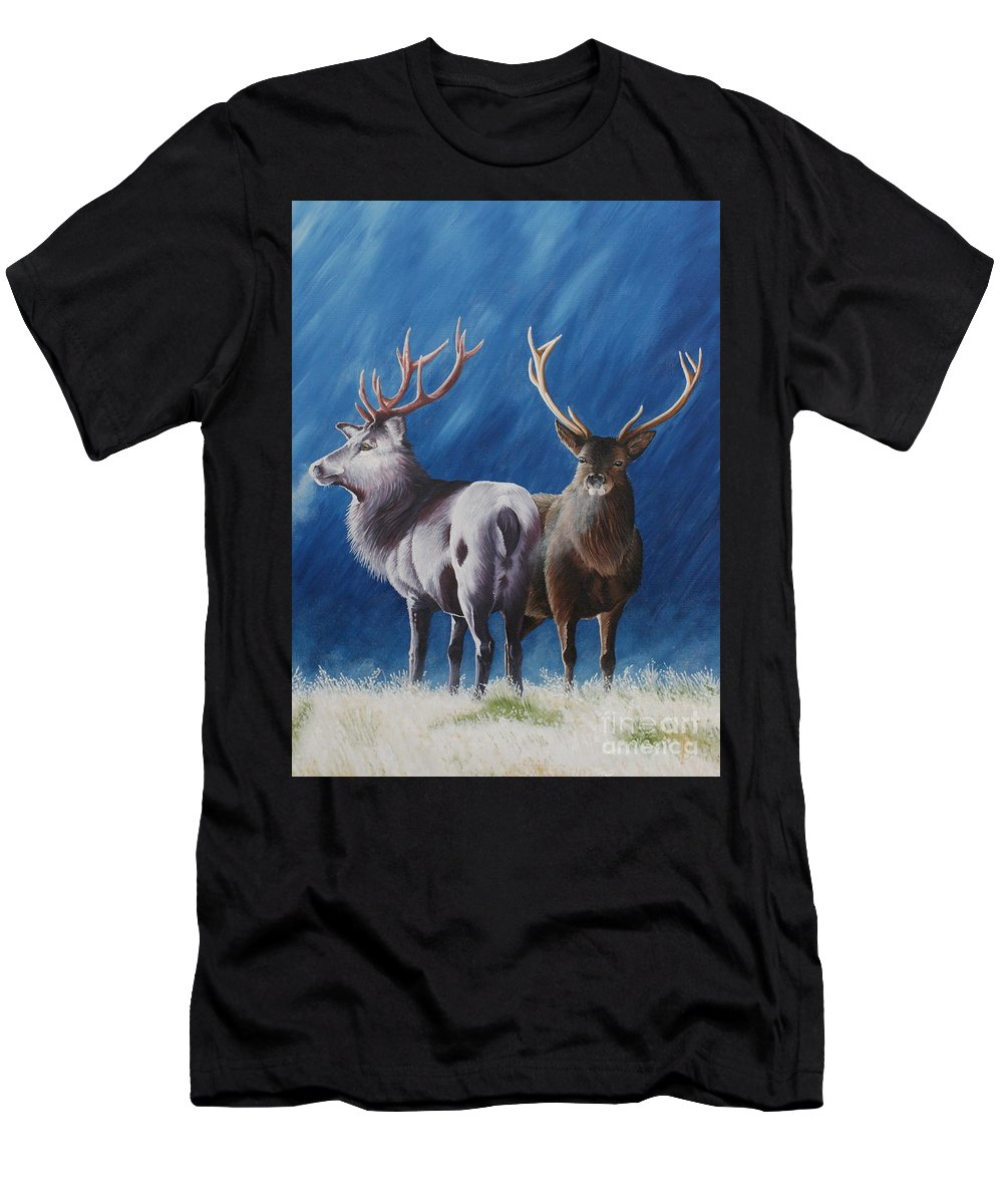 Portrait Men's T-Shirt (Athletic Fit) featuring the painting Light And Dark Stags by Pauline Sharp