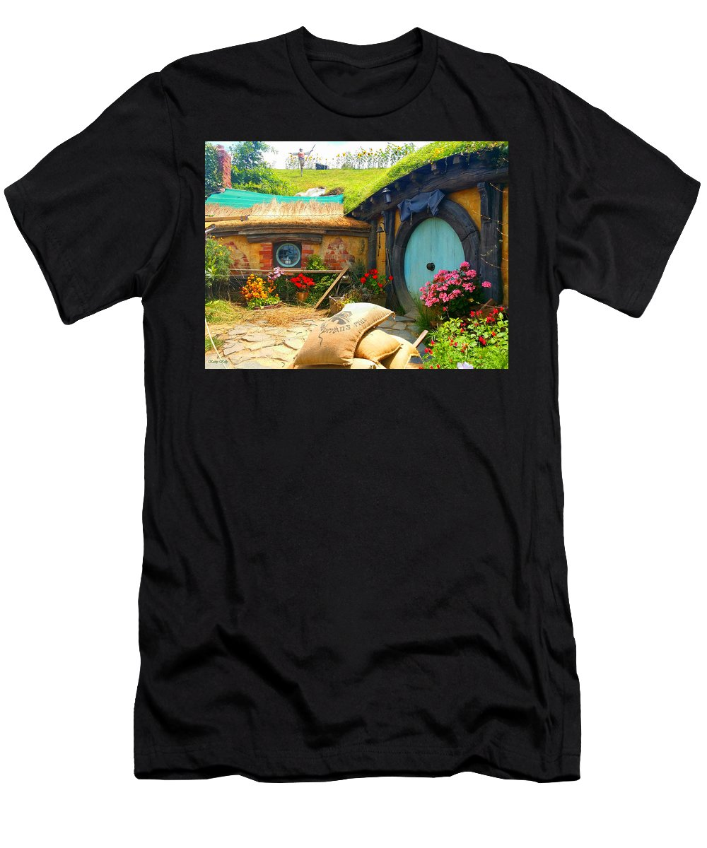 Hobbit Men's T-Shirt (Athletic Fit) featuring the photograph Light Blue Hobbit Door by Kathy Kelly