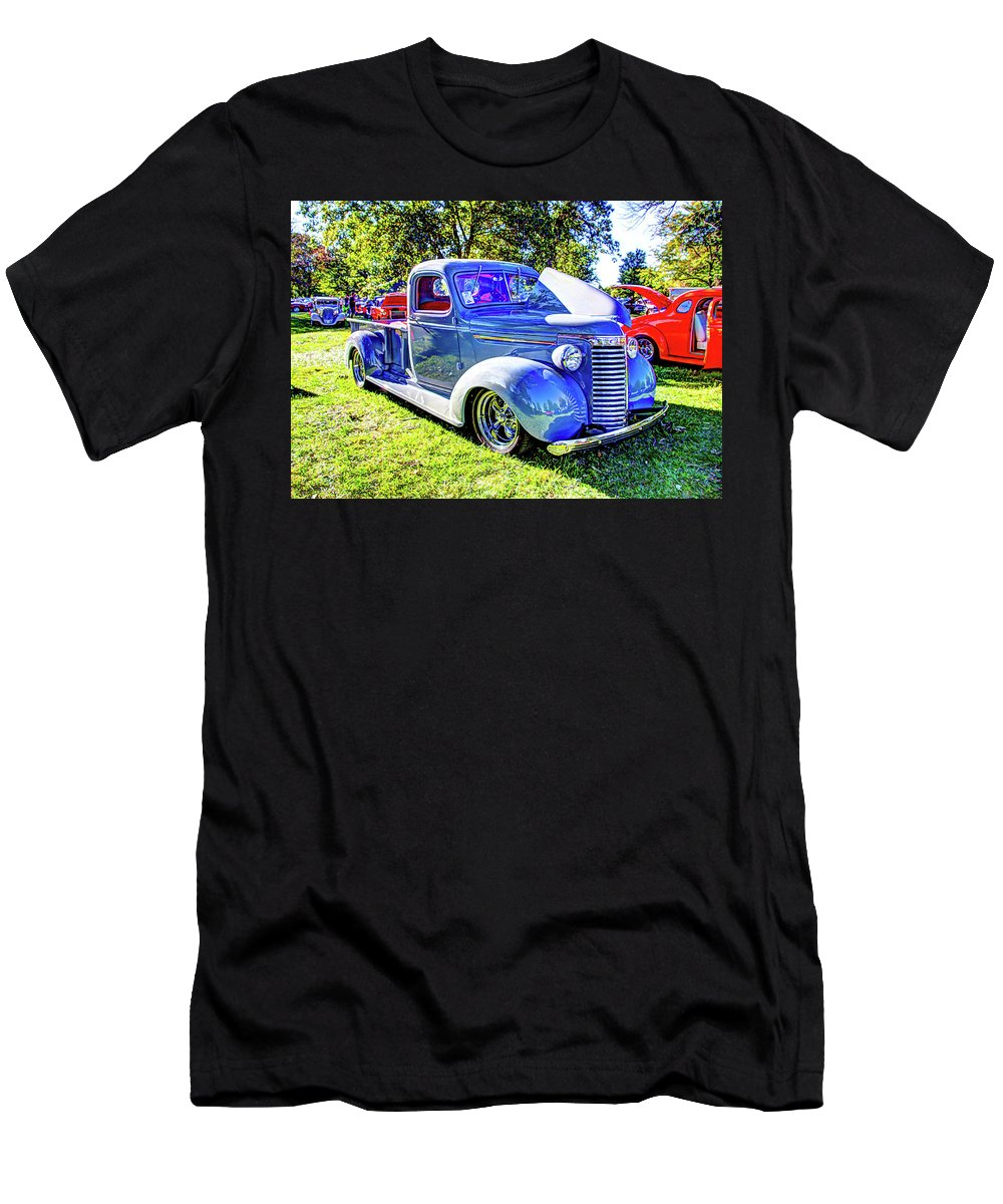 Autos Men's T-Shirt (Athletic Fit) featuring the photograph Light Blue Pickup by Jackie Eatinger