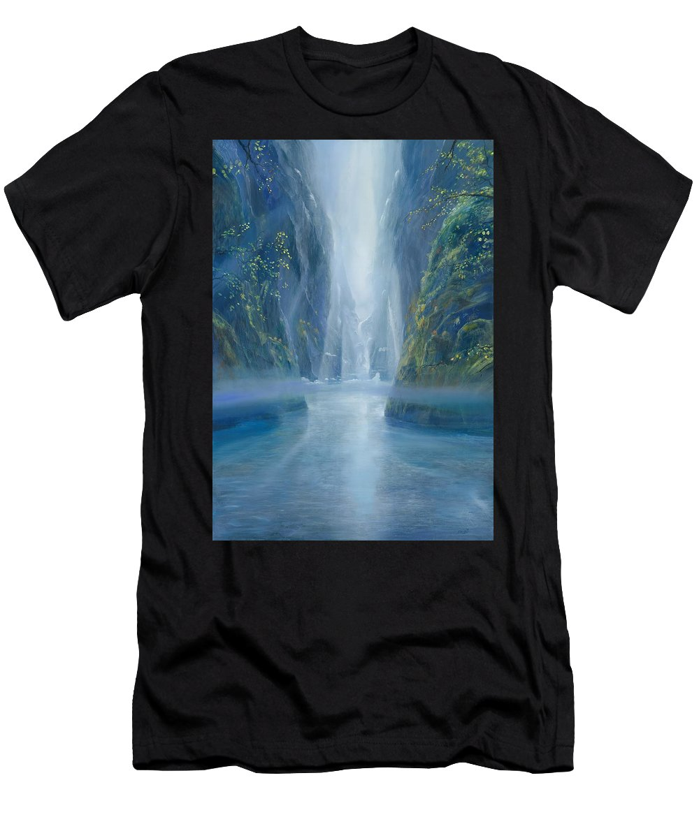 Blue Men's T-Shirt (Athletic Fit) featuring the painting Light Idea by Silvian Sternhagel