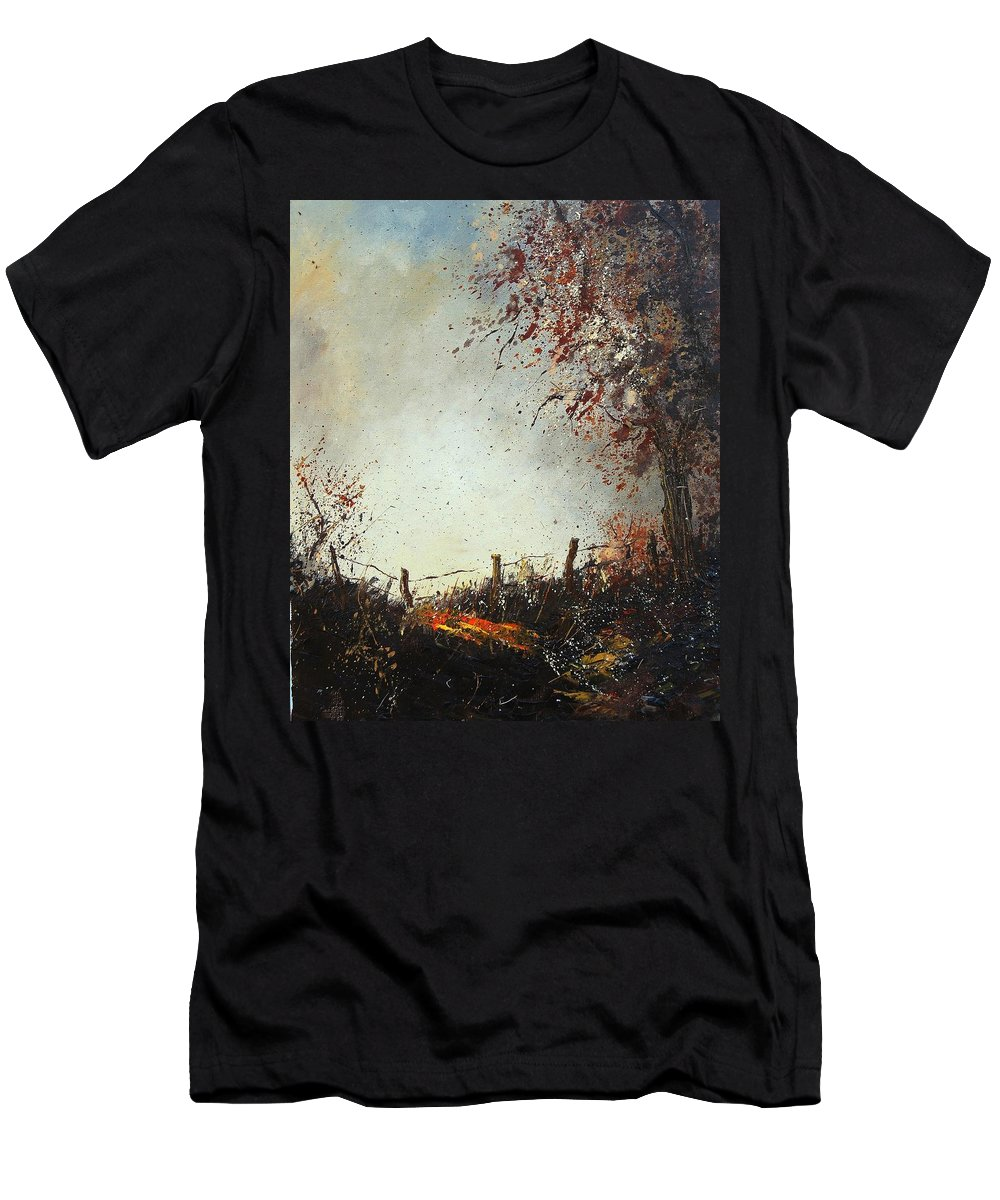 Tree Men's T-Shirt (Athletic Fit) featuring the painting Light In Autumn by Pol Ledent