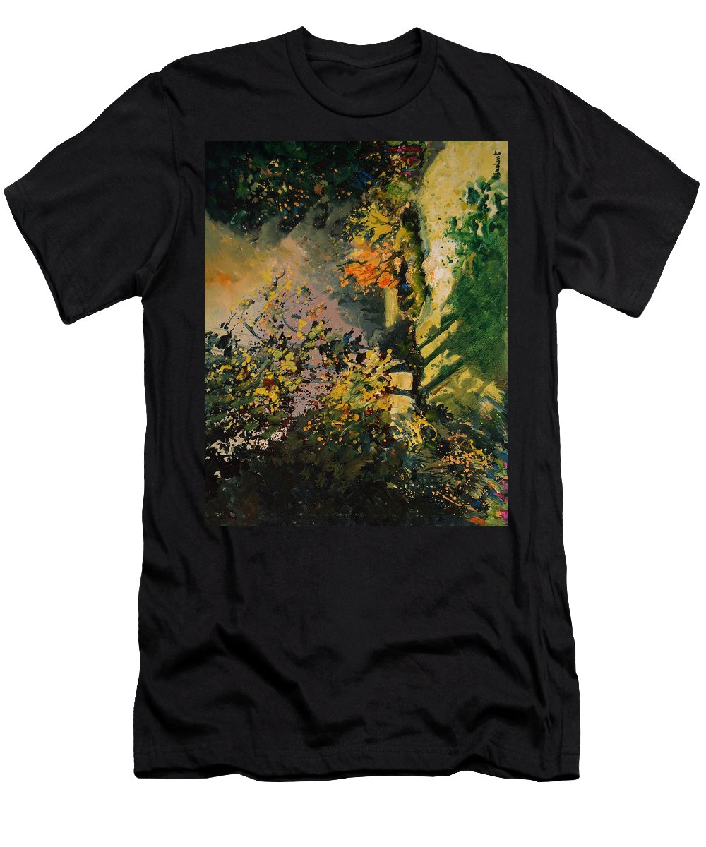 River Men's T-Shirt (Athletic Fit) featuring the painting Light In The Wood by Pol Ledent