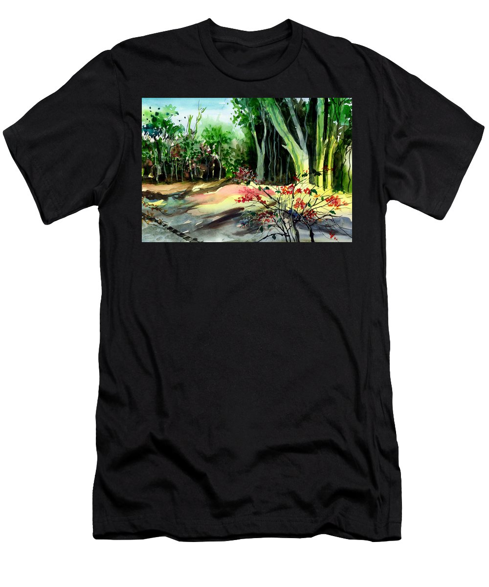 Watercolor Men's T-Shirt (Athletic Fit) featuring the painting Light In The Woods by Anil Nene