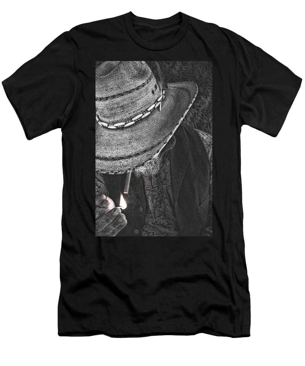 Cowboy Men's T-Shirt (Athletic Fit) featuring the photograph Light It Up by Samantha Burrow