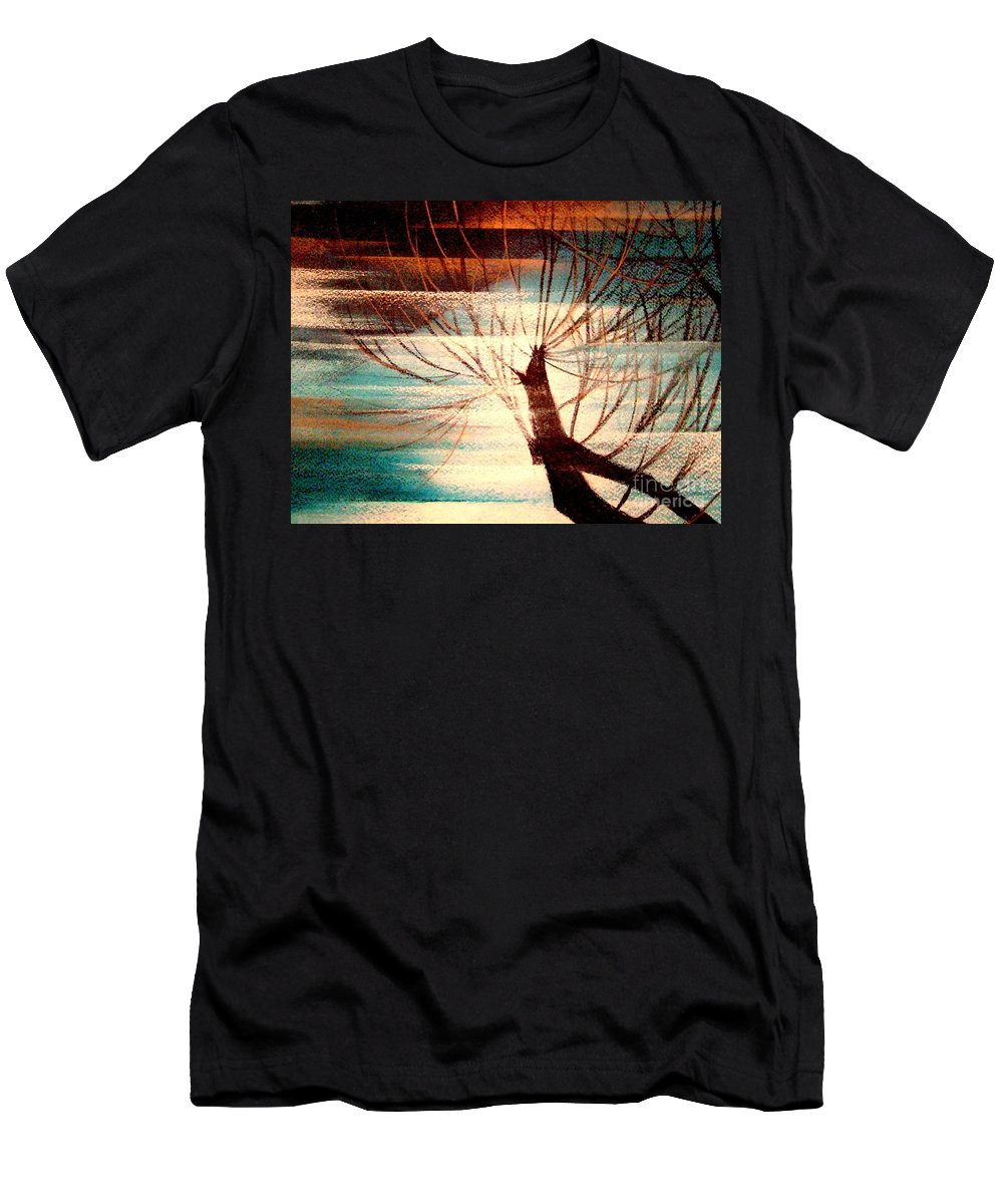 Light.tree.sky Men's T-Shirt (Athletic Fit) featuring the painting Light Melody by Kumiko Mayer