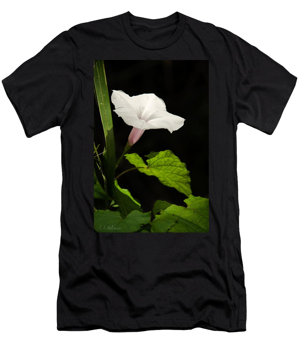 Flower Men's T-Shirt (Athletic Fit) featuring the photograph Light Out Of The Dark by Christopher Holmes