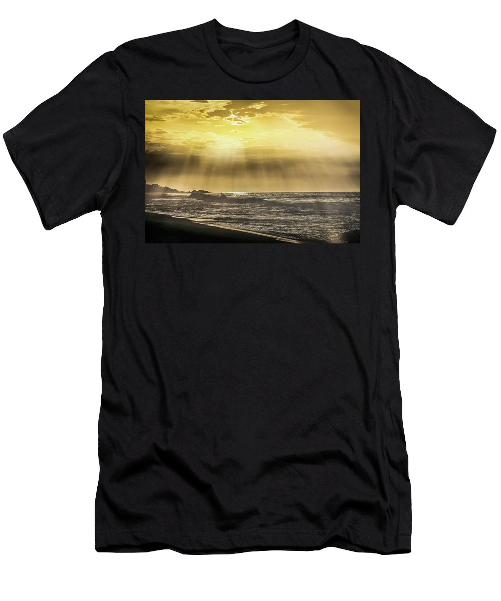 Ight Rays On The Morning Time Men's T-Shirt (Athletic Fit) featuring the photograph Light Rays On The Sunrise by Mao Lopez