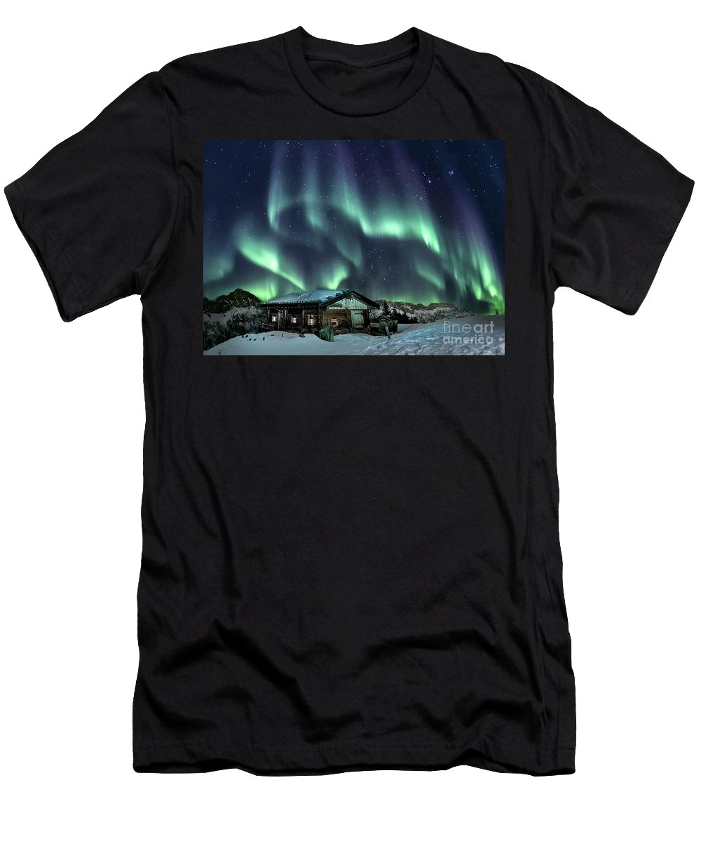 Kremsdorf Men's T-Shirt (Athletic Fit) featuring the photograph Light Through The Night by Evelina Kremsdorf