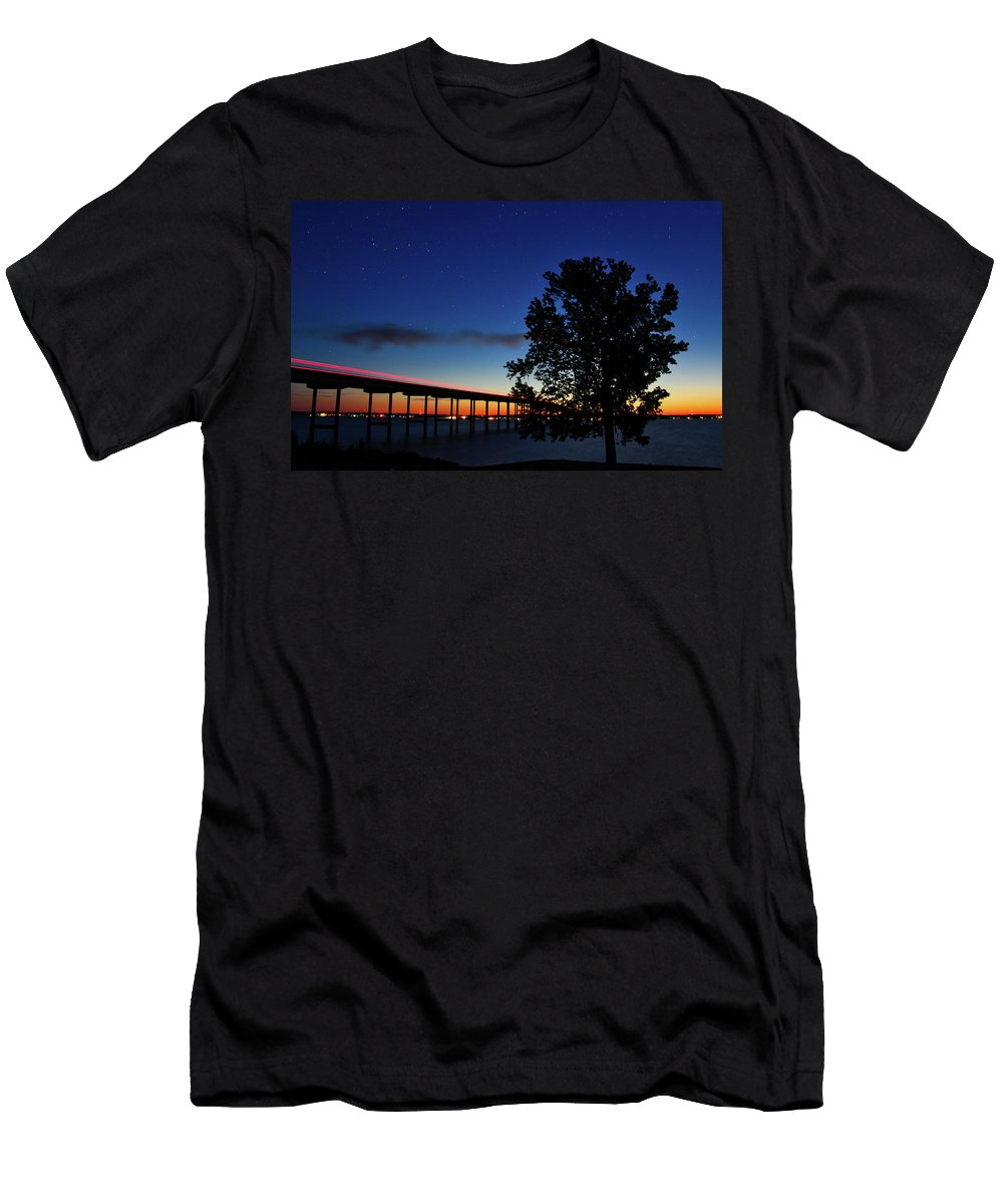 Sunset Men's T-Shirt (Athletic Fit) featuring the photograph Light Trails, Star Trails And A Sunrise by David Thompson
