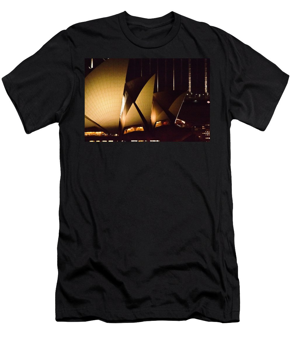Opera House Men's T-Shirt (Athletic Fit) featuring the photograph Light Up Sail Of Opera House by Miroslava Jurcik