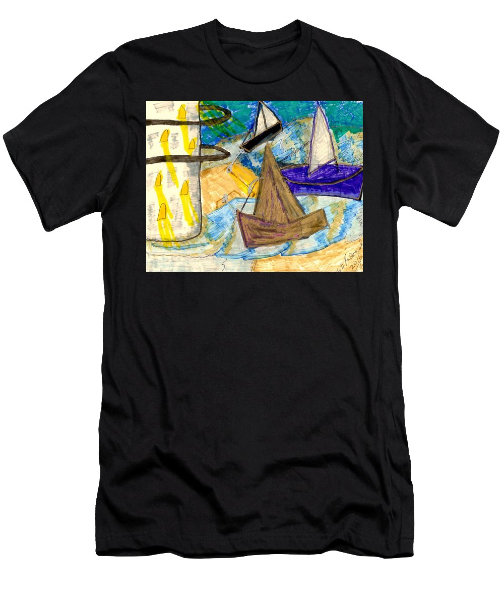 A Lit Lighthouse Surrounded By 3 Sailboats Men's T-Shirt (Athletic Fit) featuring the mixed media Lighthouse And Sailboats by Elinor Rakowski
