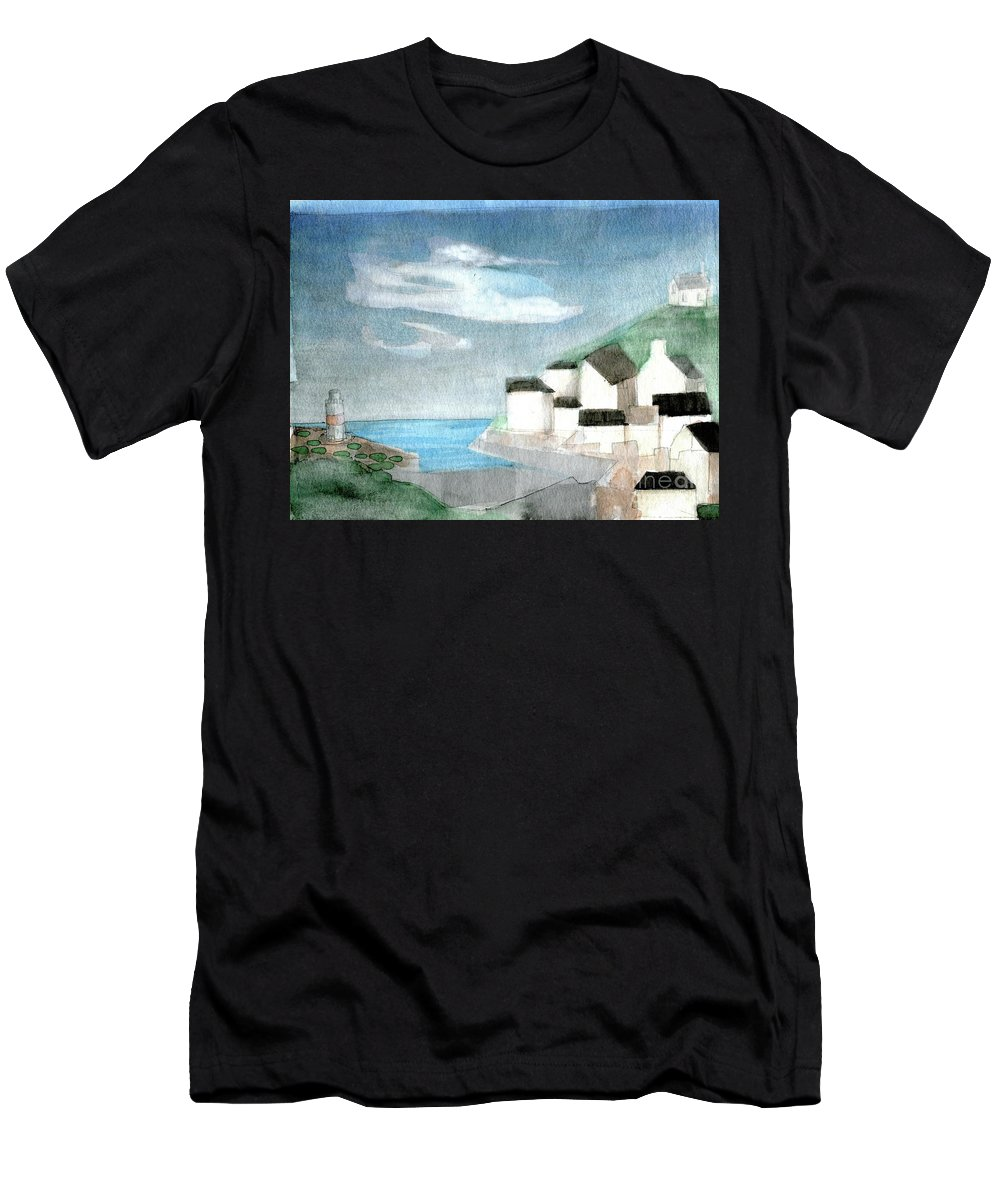 Lighthouse Harbour 2 - Original Fine Art - Watercolour Painting - Lighthouse Painting - Elizabethafox Men's T-Shirt (Athletic Fit) featuring the painting Lighthouse Harbour 2 by Elizabetha Fox