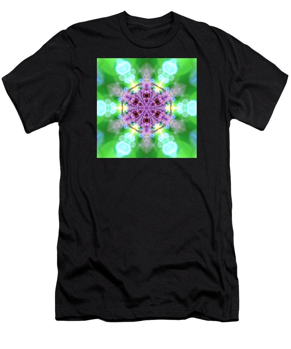 Mandala Men's T-Shirt (Athletic Fit) featuring the digital art Lightmandala 6 Star 3 by Robert Thalmeier
