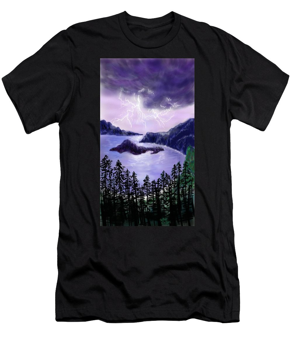 Digital Men's T-Shirt (Athletic Fit) featuring the digital art Lightning In Purple Clouds by Brenda Tamano