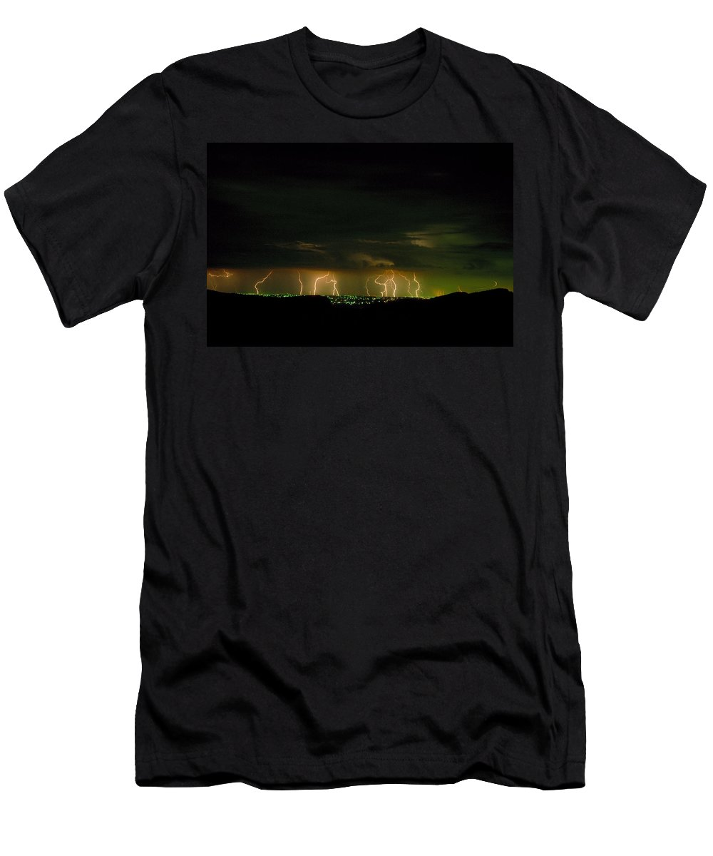 Weather Men's T-Shirt (Athletic Fit) featuring the photograph Lightning Over Denver by Jerry McElroy