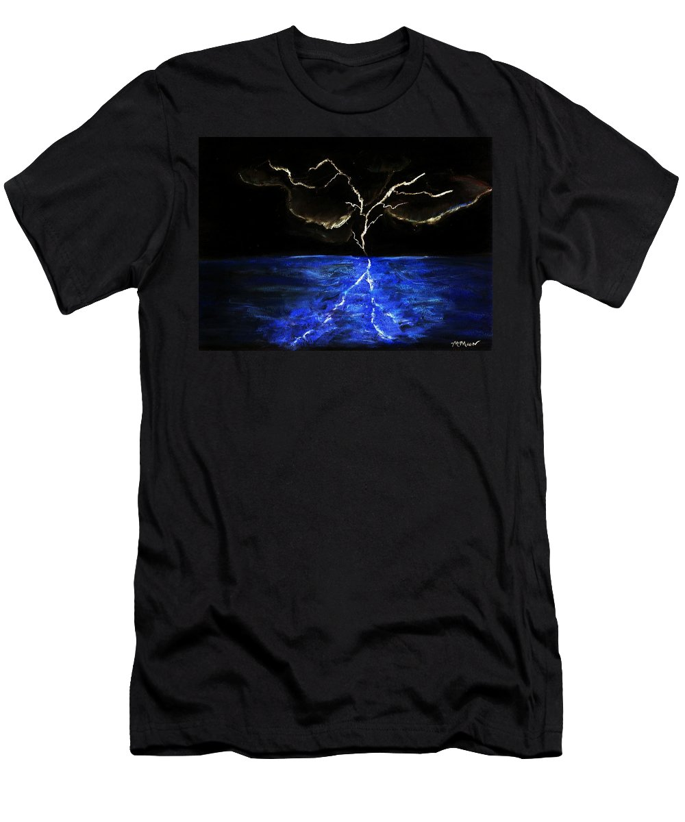 Lighting Men's T-Shirt (Athletic Fit) featuring the drawing Lightning Strikes by Melvin Moon