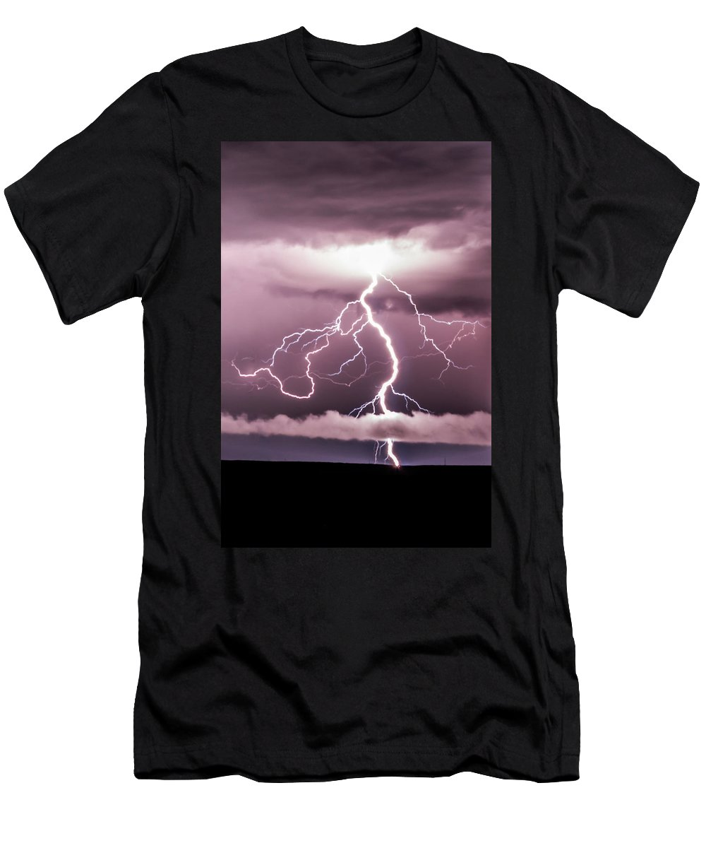 Thunderstorm Men's T-Shirt (Athletic Fit) featuring the photograph Lightning Strikes by Tammy Hockhalter