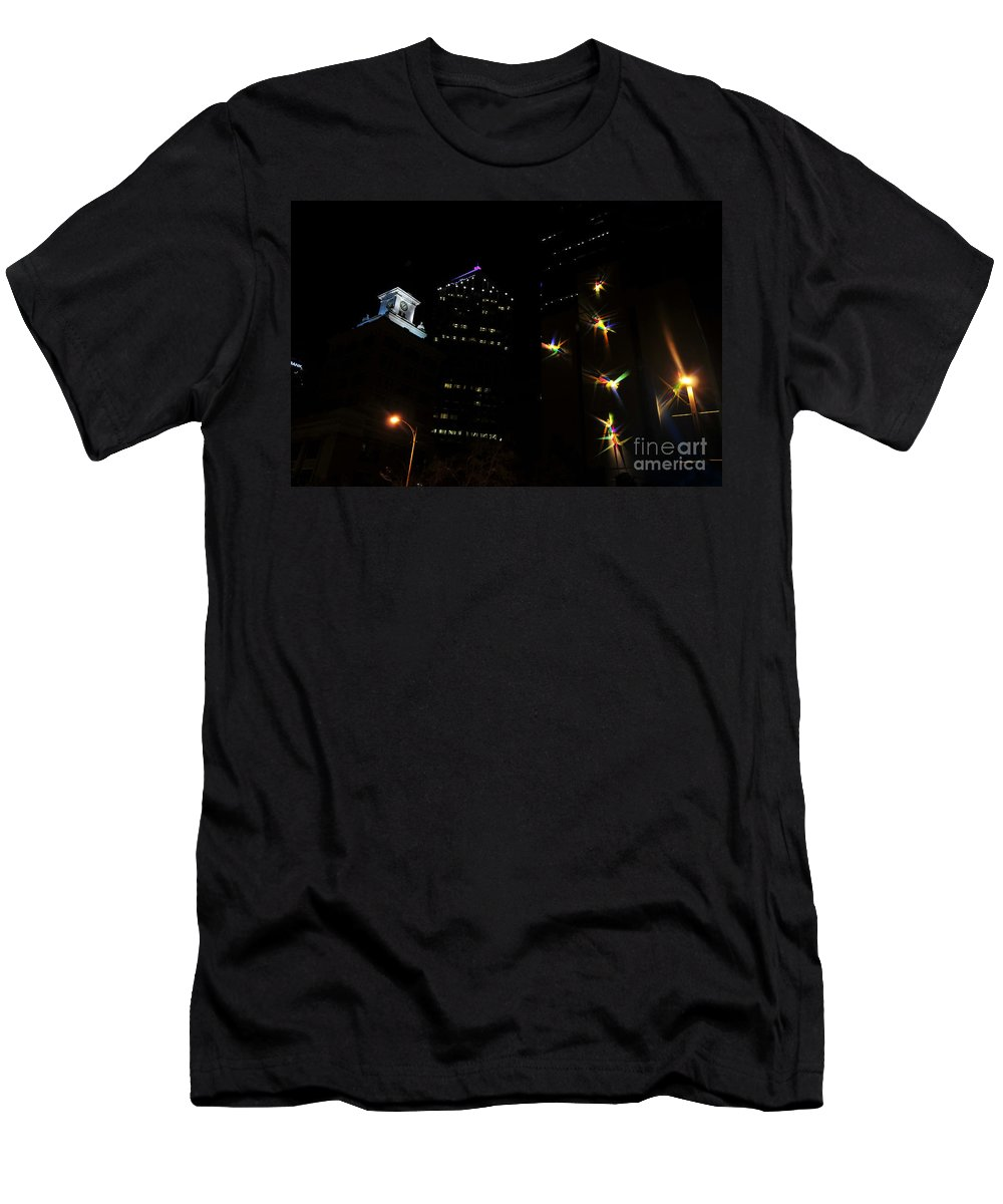 Night Lights Men's T-Shirt (Athletic Fit) featuring the photograph Lights On Tampa by David Lee Thompson