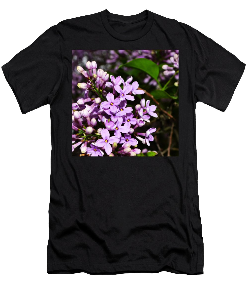Backyard Men's T-Shirt (Athletic Fit) featuring the photograph Lilac Bush In Spring by Michelle Calkins