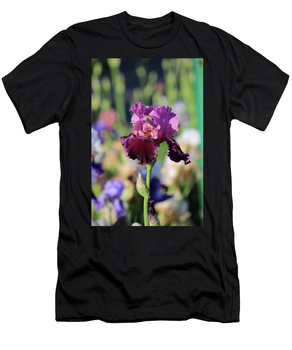 Lavendar Men's T-Shirt (Athletic Fit) featuring the photograph Lilac Iris In Bloom by Theresa Campbell