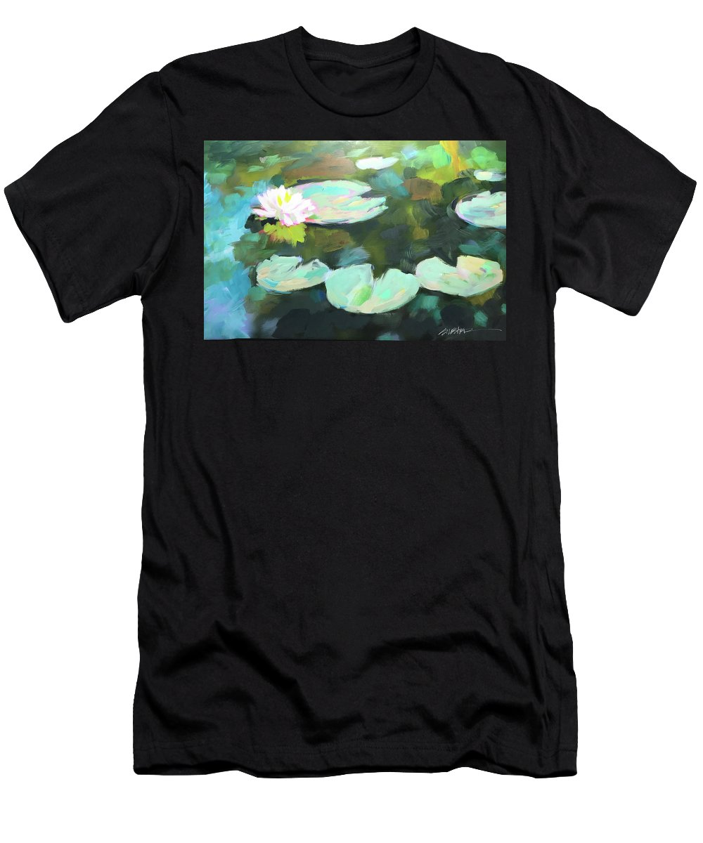 Men's T-Shirt (Athletic Fit) featuring the painting Lillypad Reflections by Steven Lester