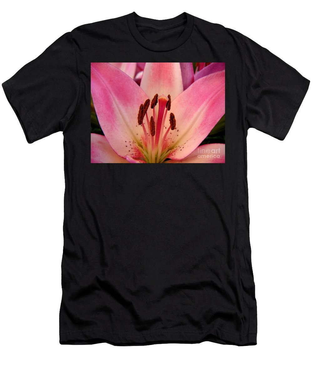 Nature Men's T-Shirt (Athletic Fit) featuring the photograph Lily - An Intimate View by Lucyna A M Green