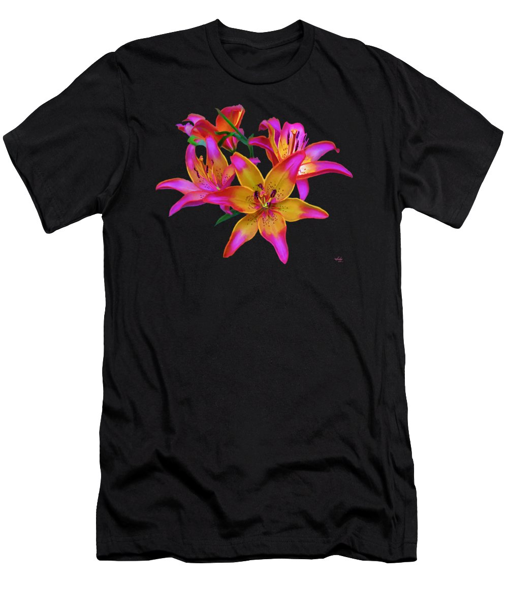 Flowers Men's T-Shirt (Athletic Fit) featuring the painting Lily Flowers Pink Maroon by Susanna Katherine