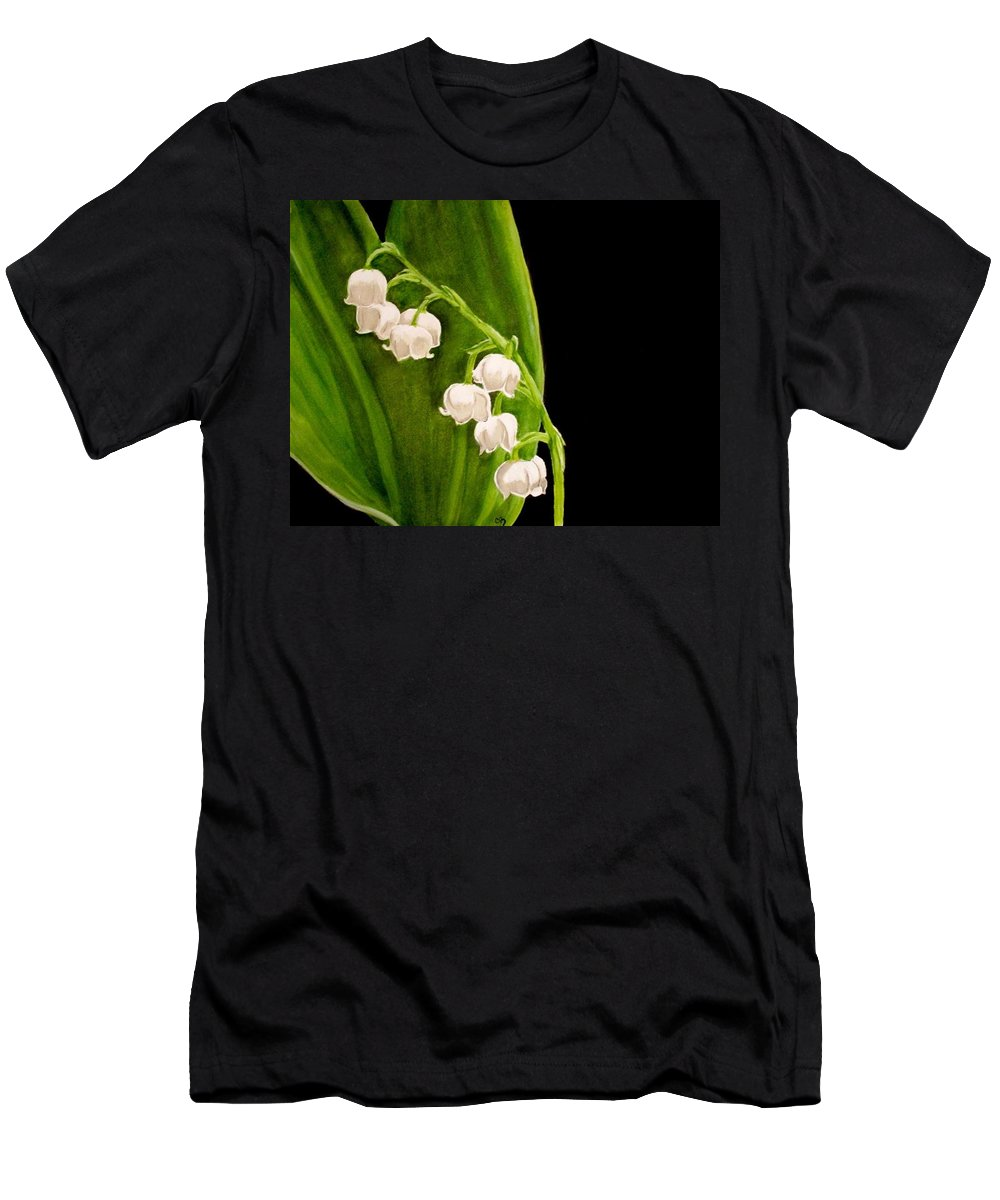 Lily Of The Valley Painting Men's T-Shirt (Athletic Fit) featuring the painting Lily Of The Valley by Carol Blackhurst