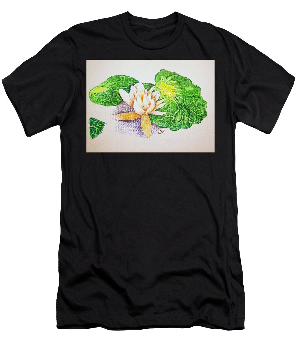 Stationery Card Men's T-Shirt (Athletic Fit) featuring the drawing Lily Pad by J R Seymour