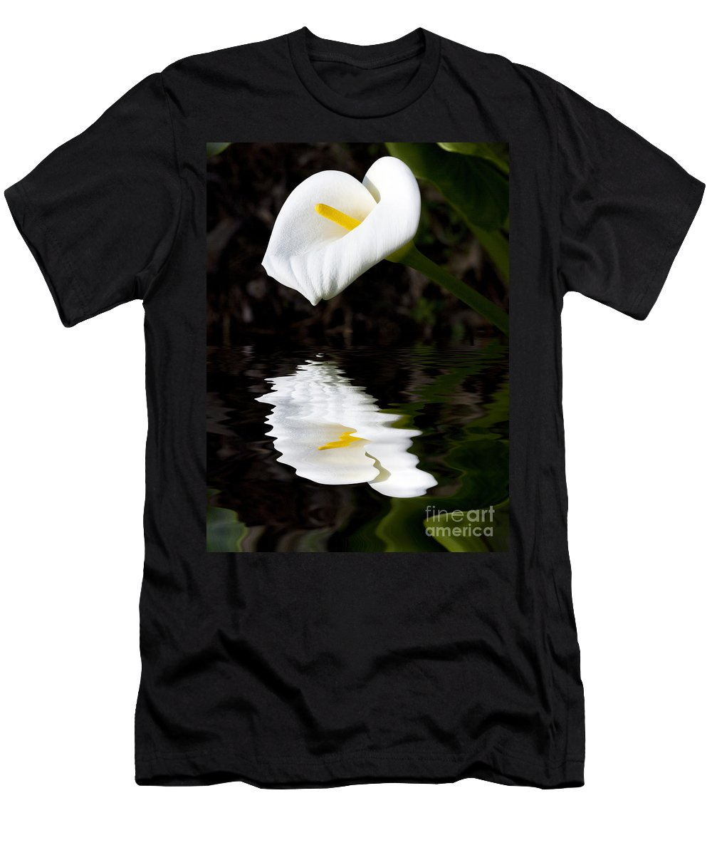 Lily Reflection Flora Flower Men's T-Shirt (Athletic Fit) featuring the photograph Lily Reflection by Sheila Smart Fine Art Photography