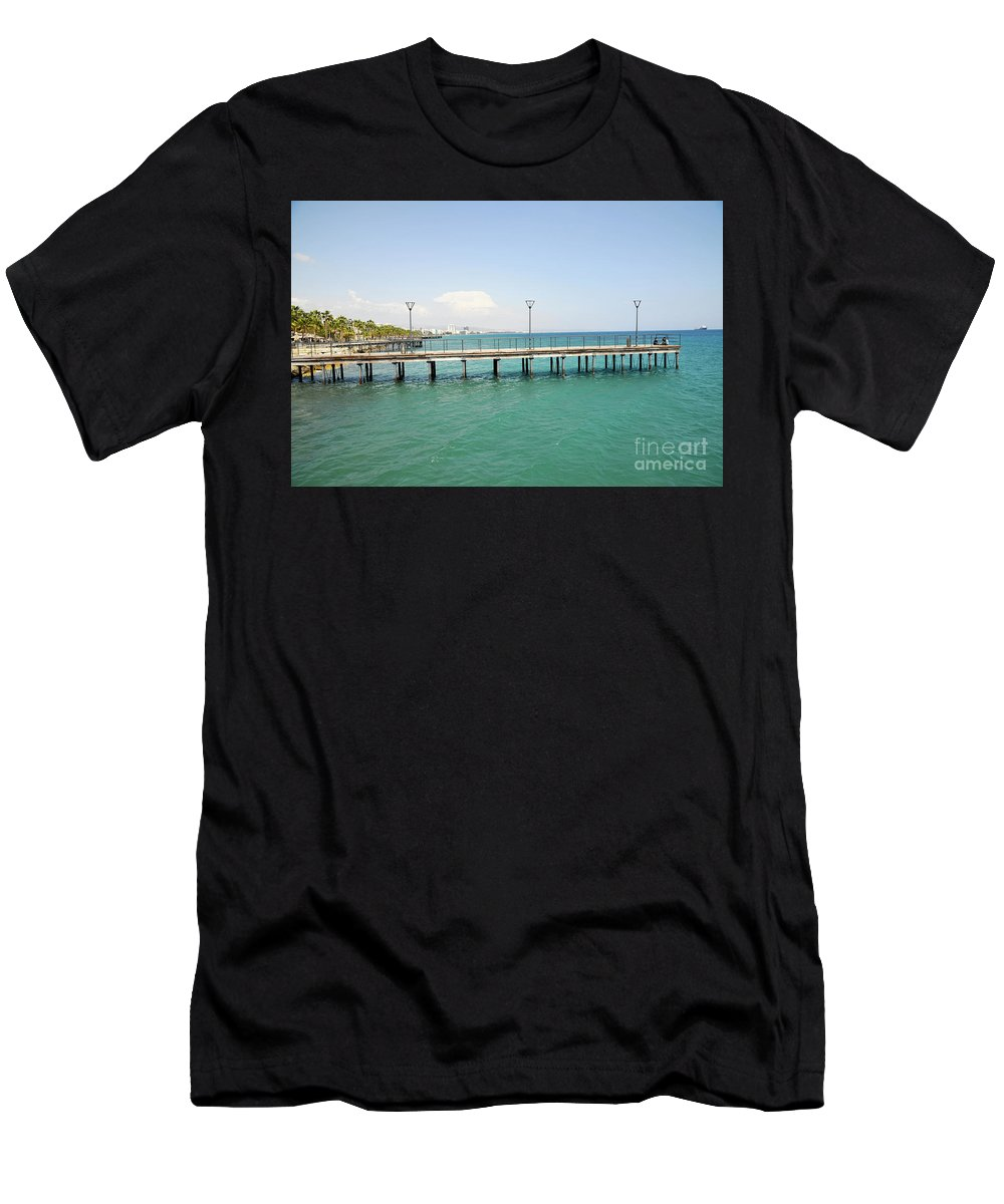 Wharf Men's T-Shirt (Athletic Fit) featuring the photograph Limassol Marina by Shay Levy