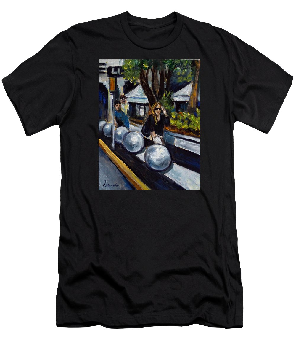 Shopping Men's T-Shirt (Athletic Fit) featuring the painting Lincoln Road by Valerie Vescovi