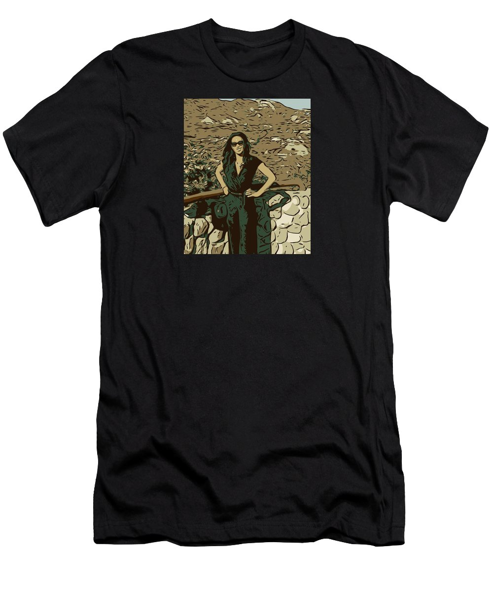 Art Men's T-Shirt (Athletic Fit) featuring the mixed media Linda by Ryan Fox