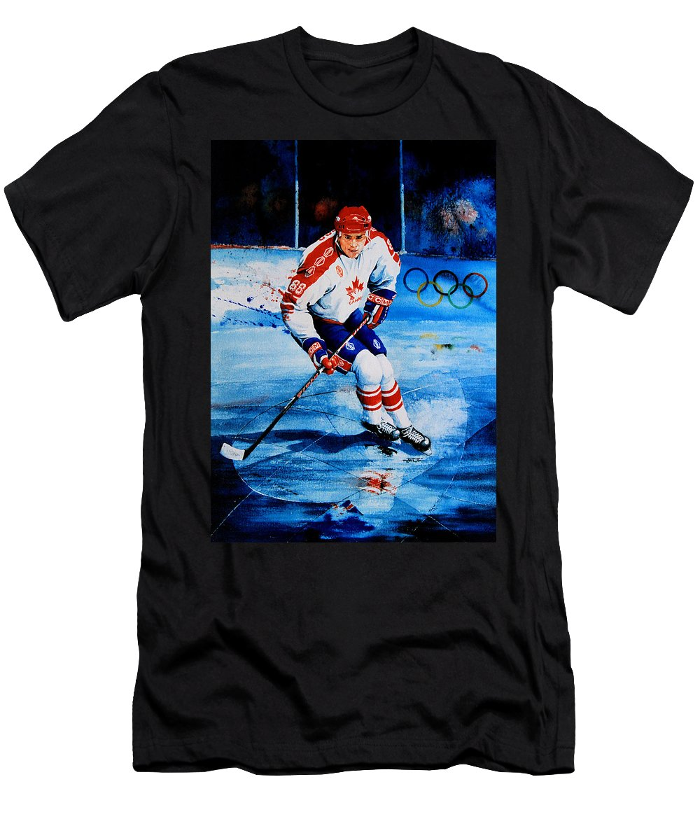 Sports Art Men's T-Shirt (Athletic Fit) featuring the painting Lindros by Hanne Lore Koehler