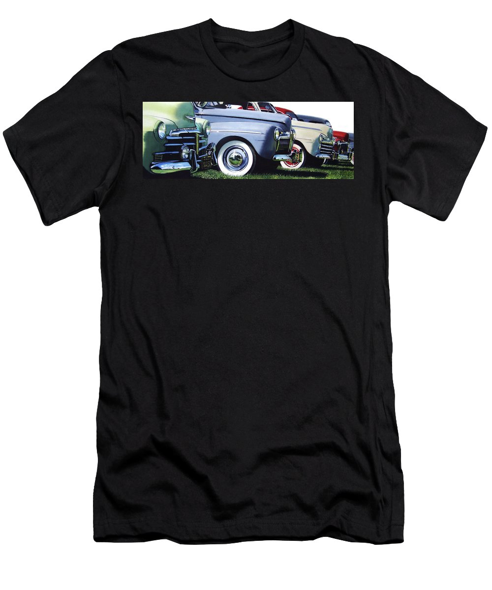 Antique Cars Men's T-Shirt (Athletic Fit) featuring the painting Line Up by Denny Bond